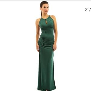 NWT- PATTY BOUTIK TEAL ROUCHED MAXI KEYHOLE DRESS
